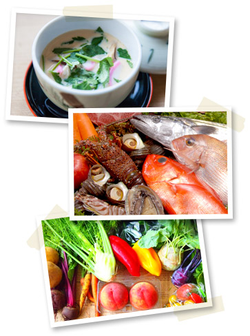 Chawanmushi, fresh fish, vegetables